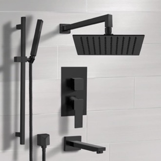 Matte Black Tub and Shower Faucet with Rain Shower Head and Hand Shower Remer TSR35