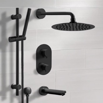 Matte Black Thermostatic Tub and Shower Faucet Set with Rain Shower Head and Hand Shower Remer TSR36