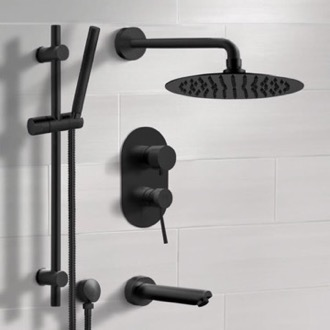 Matte Black Tub and Shower Faucet Set with Rain Shower Head and Hand Shower Remer TSR37