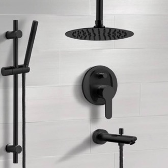 Matte Black Tub and Shower Faucet Set with Ceiling Rain Shower Head and Hand Shower Remer TSR44