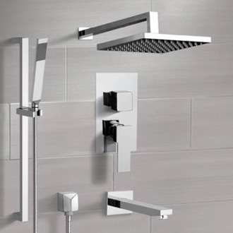 Chrome Tub and Shower System with Rain Shower Head and Hand Shower Remer TSR46