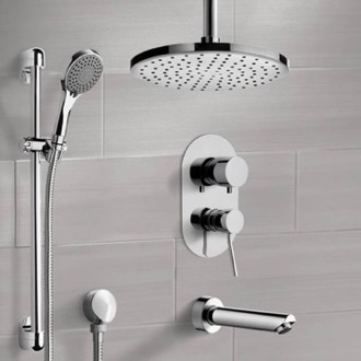 Chrome Tub and Shower System with Ceiling Rain Shower Head and Hand Shower Remer TSR50