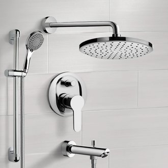 Chrome Tub and Shower Faucet Set With Rain Shower Head and Hand Shower Remer TSR53