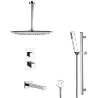 Tub and Shower Faucet Modern Thermostatic Tub and Shower Faucet with Slide Rail Remer TSR9400