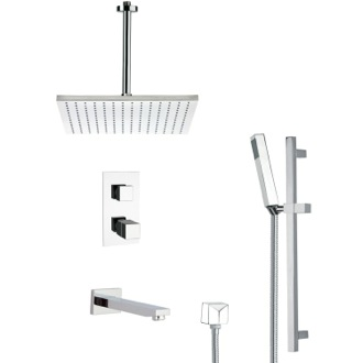 Tub and Shower Faucet Thermostatic Tub and Shower Faucet with Slide Rail Remer TSR9401