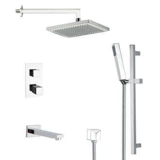 Tub and Shower Faucet Thermostatic Square Tub and Shower Faucet with Slide Rail Remer TSR9402