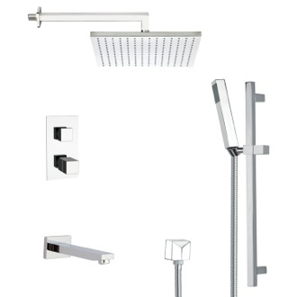 Tub and Shower Faucet Modern Square Tub and Thermostatic Shower Faucet with Slide Rail Remer TSR9403