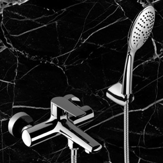 Bath and Shower Mixer With Hand Shower and Bracket in Chrome Finish Remer V02