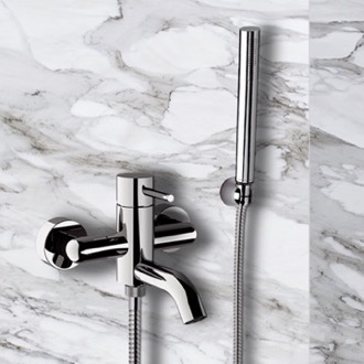 Bath and Shower Mixer With Hand Shower and Bracket in Chrome Finish Remer X02