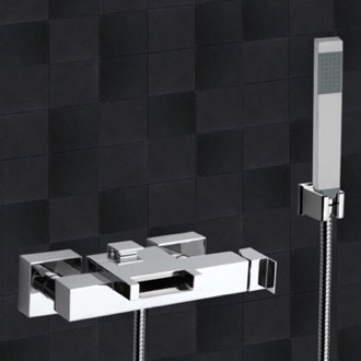 Tub Filler External Diverter with Waterfall Spout and Handshower with Bracket Remer ZC02US