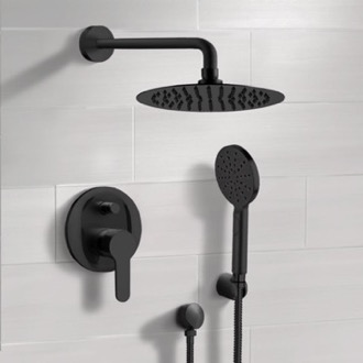 Matte Black Shower Set With Rain Shower Head and Hand Shower Remer SFH51