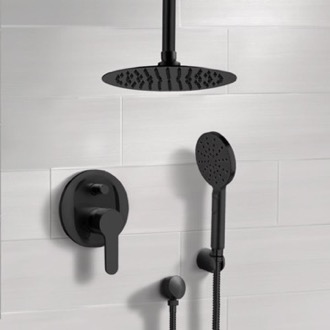 Matte Black Ceiling Shower Set with Rain Shower Head and Hand Shower Remer SFH52