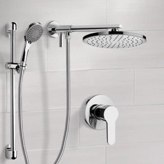 Chrome Shower Set With Rain Shower Head and Hand Shower Remer SFR16