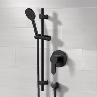 Matte Black Slidebar Shower Set With Multi Function Hand Shower Remer SR051