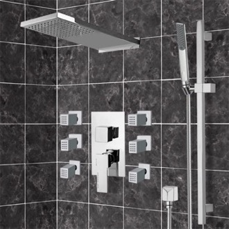 Chrome Shower System with Rain Shower Head, Hand Shower, and Body Sprays Remer S10