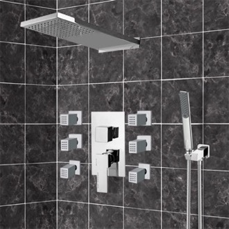 Chrome Shower System with Rain Shower Head, Hand Shower, and Body Sprays Remer S22
