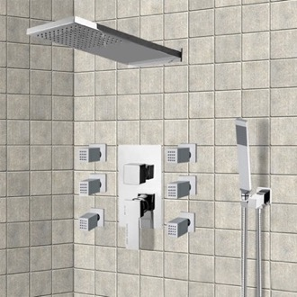 Chrome Shower System with Rain Shower Head, Hand Shower, and Body Sprays Remer S23