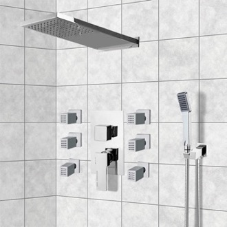 Chrome Shower System with Rain Shower Head, Hand Shower, and Body Sprays Remer S24