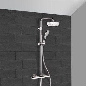 Chrome Thermostatic Exposed Pipe Shower System with 8