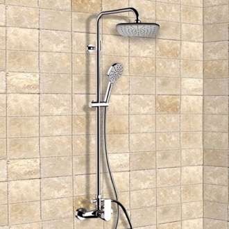 exposed pipe shower . Chrome Exposed Pipe Shower System With 8 Showers  TheBathOutlet