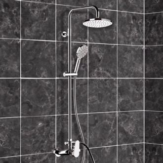 Chrome Exposed Pipe Shower System with 8