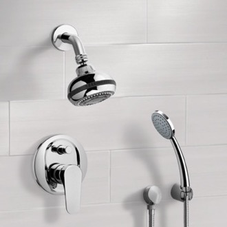 Chrome Shower System with Multi Function Shower Head and Hand Shower Remer SFH06