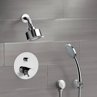 Chrome Thermostatic Shower System with Multi Function Shower Head and Hand Shower Remer SFH07