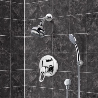 Chrome Shower System with Multi Function Shower Head and Hand Shower Remer SFH08