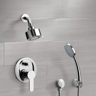 Chrome Shower System with Multi Function Shower Head and Hand Shower Remer SFH09