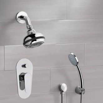 Chrome Shower System with Multi Function Shower Head and Hand Shower Remer SFH12