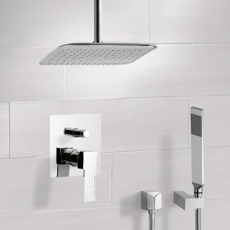 Shower Faucet Chrome Shower System with Ceiling 14
