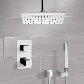 Chrome Thermostatic Shower System with Ceiling 12