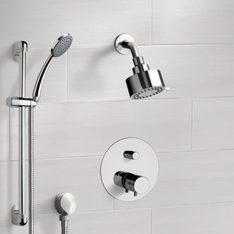 Chrome Thermostatic Shower System with Multi Function Shower Head and Hand Shower Remer SFR01