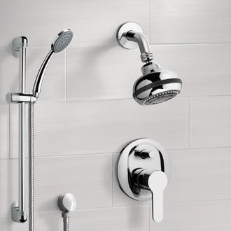 Chrome Shower System with Multi Function Shower Head and Hand Shower Remer SFR13