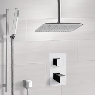 ceiling mounted shower head. Shower Faucet Chrome Thermostatic System With Ceiling 14 Mounted Head E