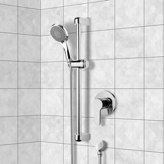 Shower Faucet Chrome Slidebar Shower Set With Multi Function Hand Shower Remer SR001