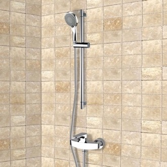 Shower Faucet Chrome Slidebar Shower Set With Multi Function Hand Shower Remer SR007