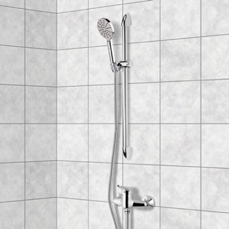 Shower Faucet Chrome Slidebar Shower Set With Multi Function Hand Shower Remer SR028
