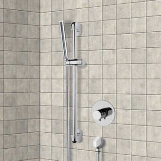 Shower Faucet Chrome Thermostatic Slidebar Shower Set With Hand Shower Remer SR038