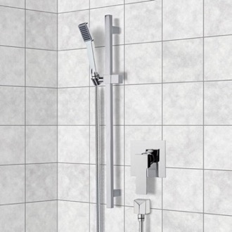 Shower Faucet Chrome Slidebar Shower Set With Hand Shower Remer SR039
