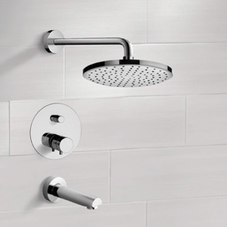 Chrome Thermostatic Tub and Shower Faucet Sets with 8