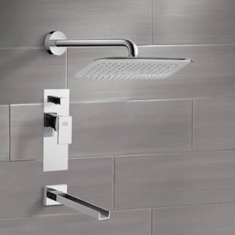 Tub and Shower Faucet Chrome Tub and Shower Faucet Sets with 14