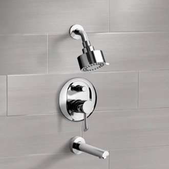 Chrome Tub and Shower Faucet Sets with Multi Function Shower Head Remer TSF2083