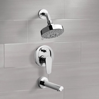 Tub and Shower Faucet Chrome Tub and Shower Faucet Sets with Multi Function Shower Head Remer TSF2204