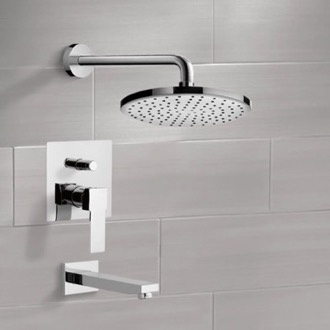 Chrome Tub and Shower Faucet Sets with 8