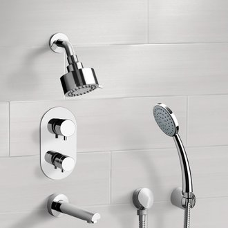 Chrome Thermostatic Tub and Shower System with Multi Function Shower Head and Hand Shower Remer TSH04