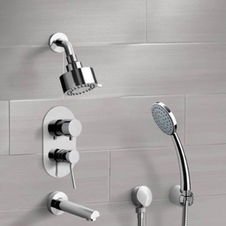 Chrome Tub and Shower System with Multi Function Shower Head and Hand Shower Remer TSH05