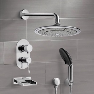 Chrome Tub and Shower System with 9
