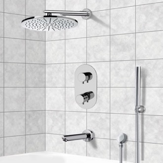 Tub and Shower Faucet Thermostatic Tub and Shower System with 12