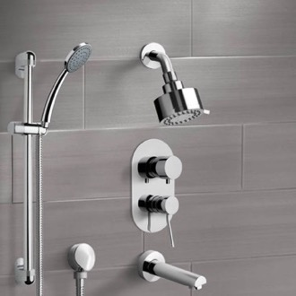 Chrome Tub and Shower System with Multi Function Shower Head and Hand Shower Remer TSR06
